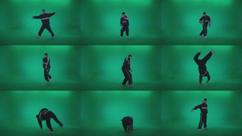 B-Boy-Break-Dance-Stand Green Screen Stock