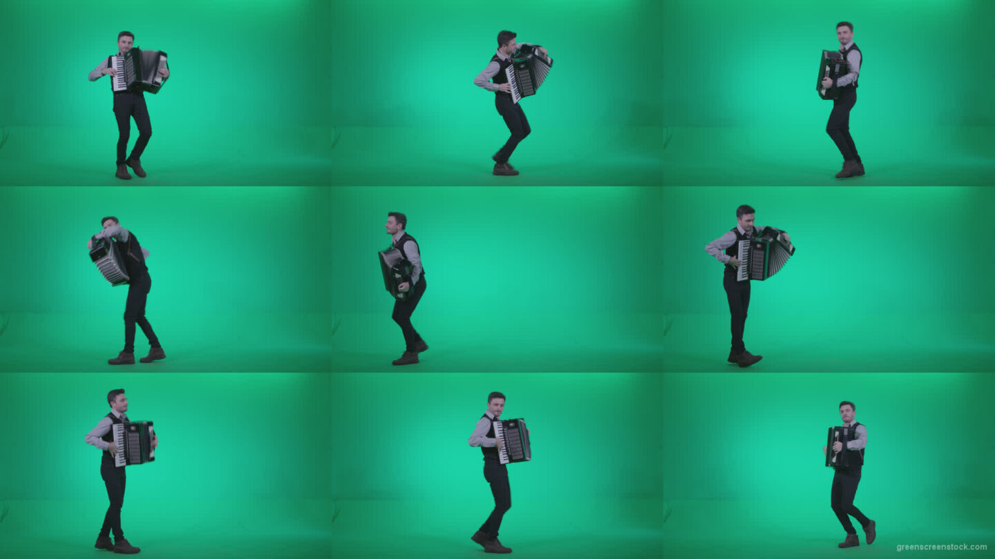 Black-Accordion-Virtuoso-performs-ba3 Green Screen Stock
