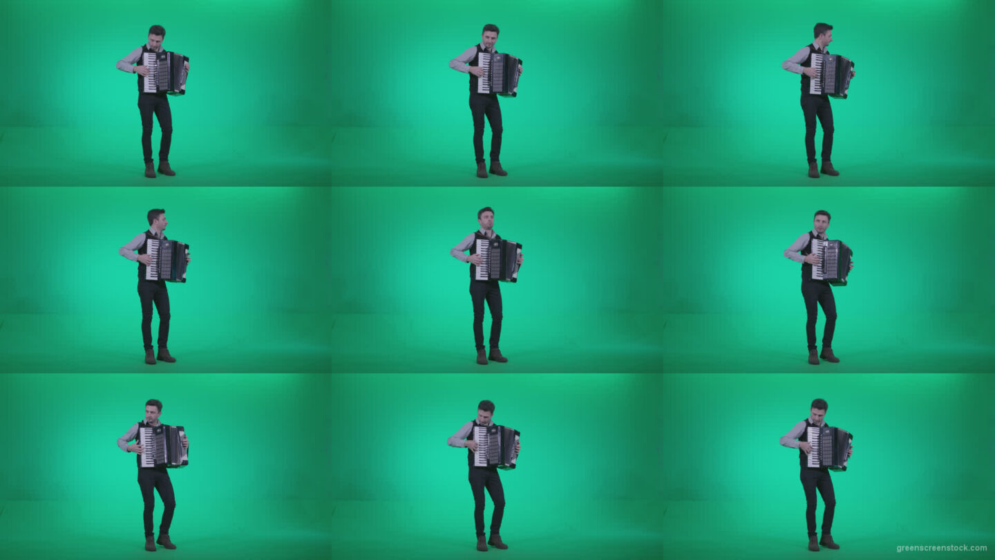 Black-Accordion-Virtuoso-performs-ba4 Green Screen Stock