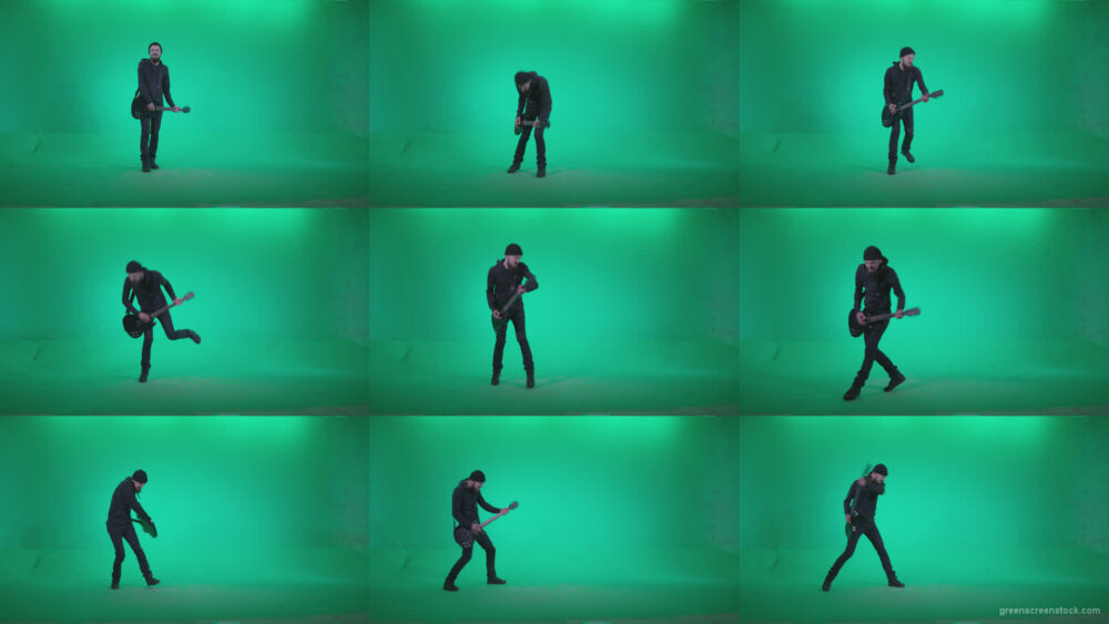 Black-Guitarist-Hardplay-Z3 Green Screen Stock