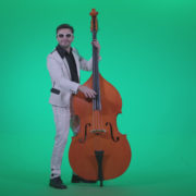 Contrabass-Jazz-Performer-j10-Green-Screen-Video-Footage_001 Green Screen Stock