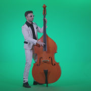 Contrabass-Jazz-Performer-j10-Green-Screen-Video-Footage_007 Green Screen Stock