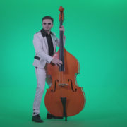Contrabass-Jazz-Performer-j10-Green-Screen-Video-Footage_009 Green Screen Stock