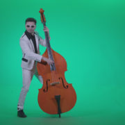 Contrabass-Jazz-Performer-j11-Green-Screen-Video-Footage_002 Green Screen Stock