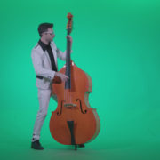 Contrabass-Jazz-Performer-j11-Green-Screen-Video-Footage_006 Green Screen Stock