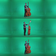 Contrabass-Jazz-Performer-j5-Green-Screen-Video-Footage Green Screen Stock