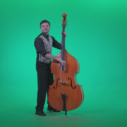 Contrabass-Jazz-Performer-j5-Green-Screen-Video-Footage_007 Green Screen Stock