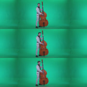 Contrabass-Jazz-Performer-j8-Green-Screen-Video-Footage Green Screen Stock