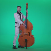 Contrabass-Jazz-Performer-j9-Green-Screen-Video-Footage_009 Green Screen Stock