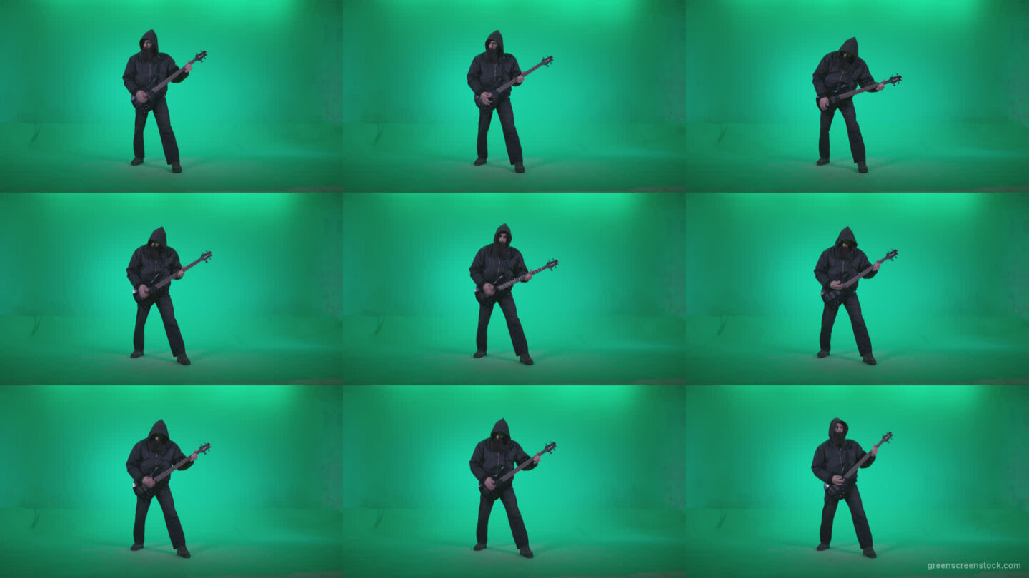 Death-Metal-Guitarist-zt1 Green Screen Stock