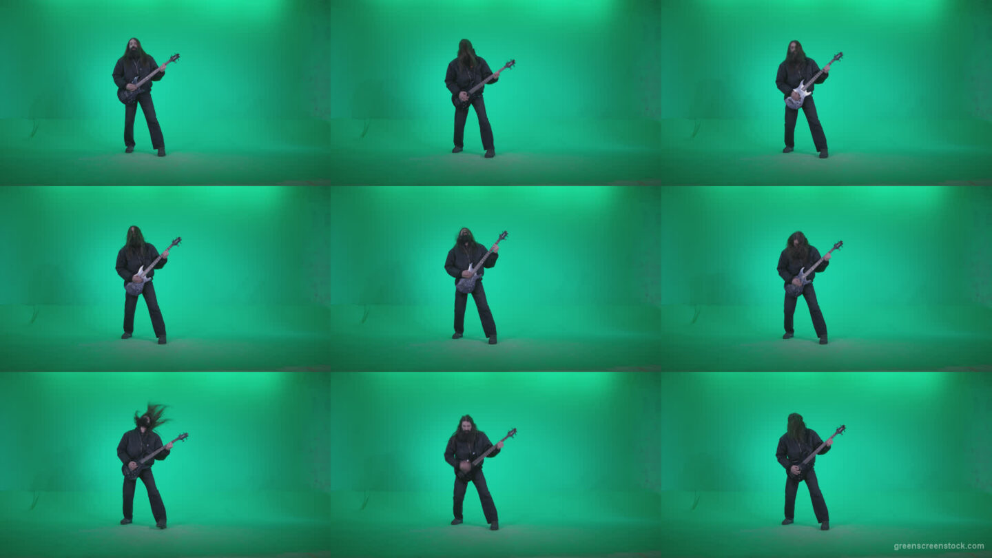 Death-Metal-Guitarist-zt4 Green Screen Stock