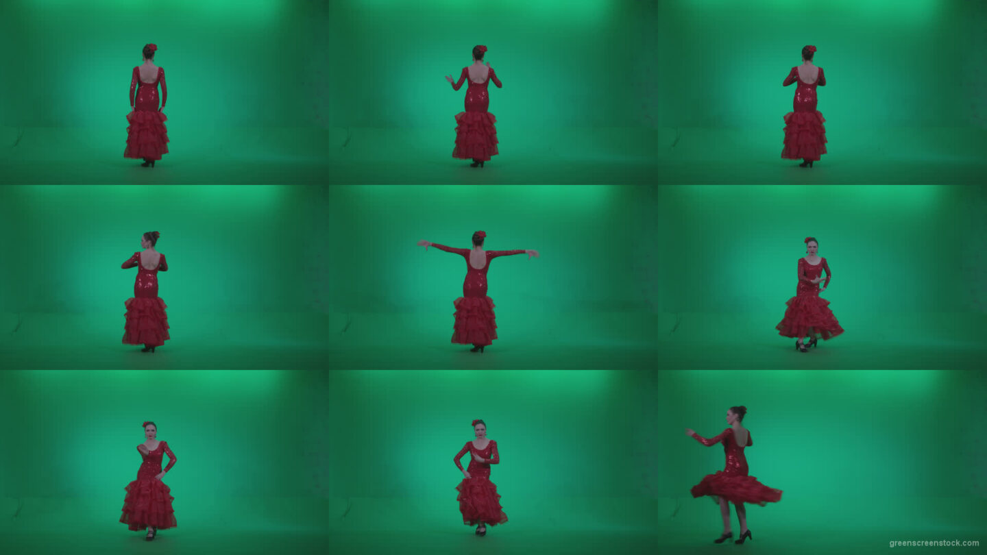 Flamenco-Red-Dress-rd1 Green Screen Stock