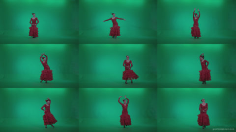 Flamenco-Red-Dress-rd13-Green-Screen-Video-Footage Green Screen Stock
