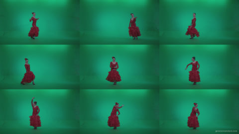 Flamenco-Red-Dress-rd2 Green Screen Stock