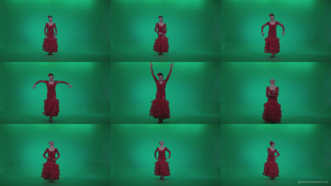 Flamenco-Red-Dress-rd3 Green Screen Stock