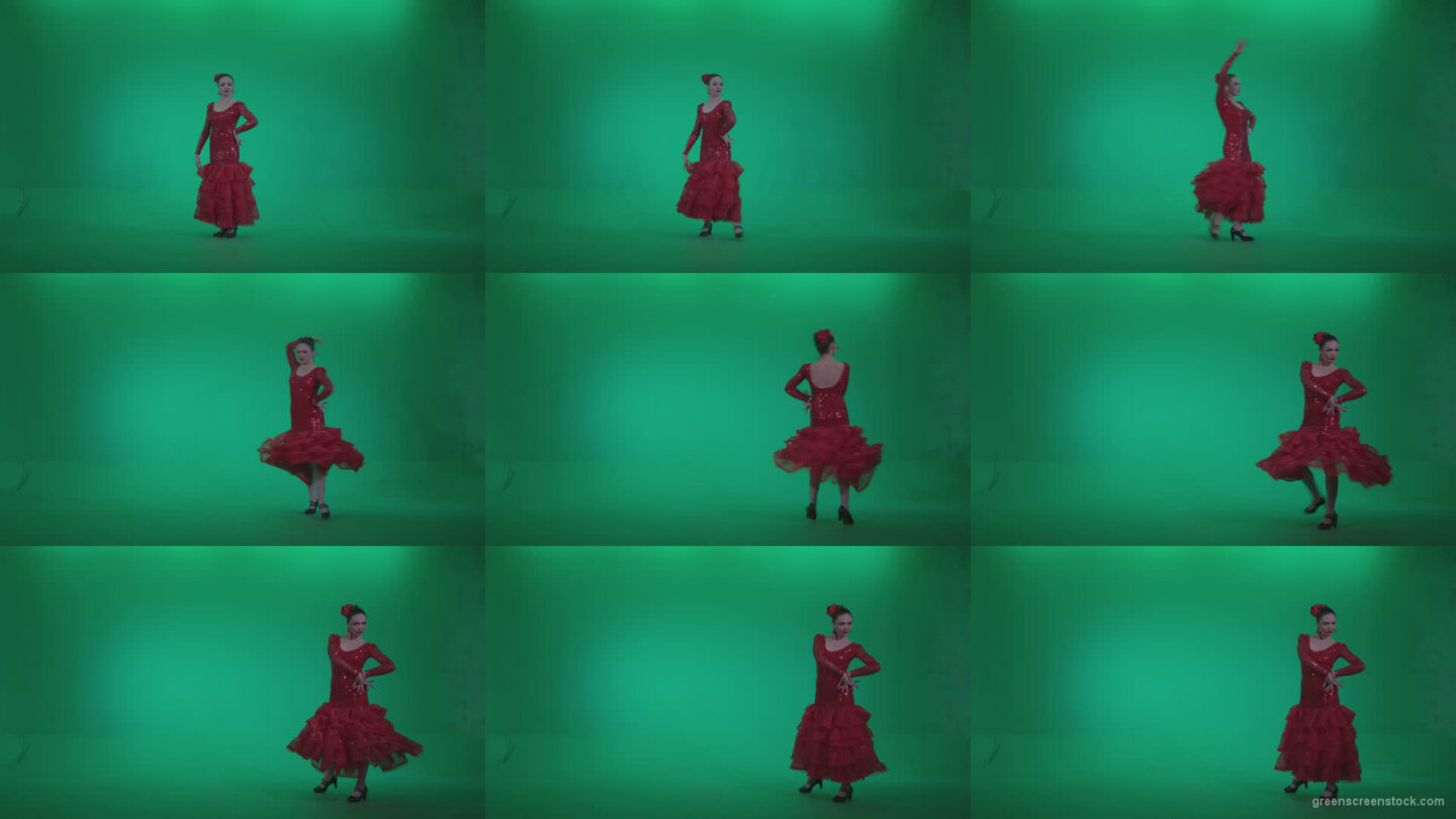 Flamenco-Red-Dress-rd4 Green Screen Stock