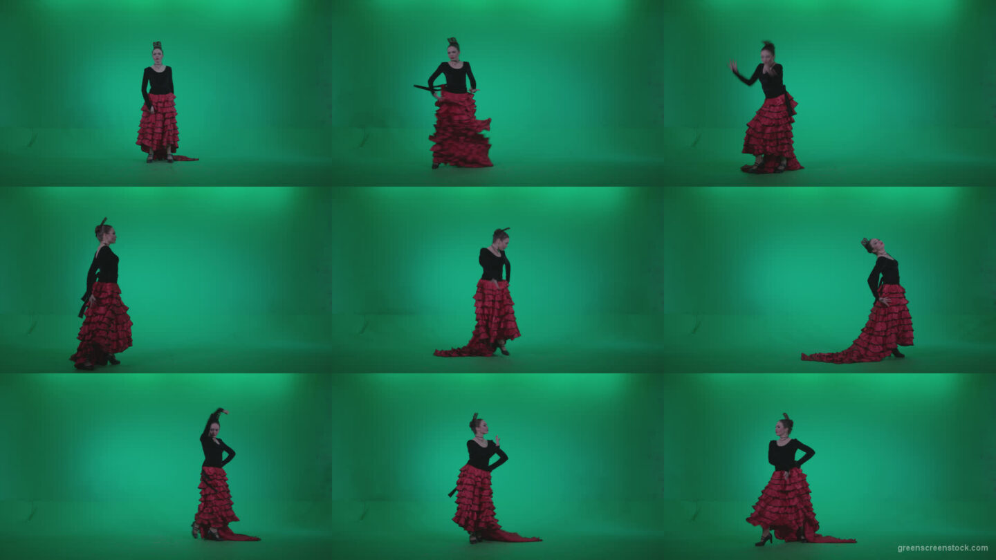 Flamenco-Red-and-Black-Dress-rb1 Green Screen Stock