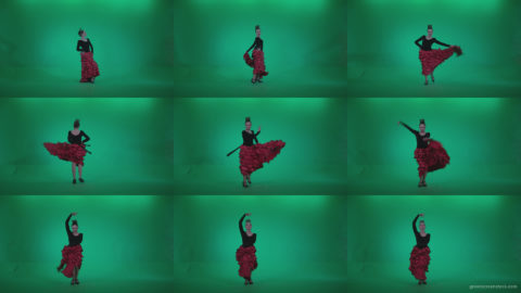 Flamenco-Red-and-Black-Dress-rb6-Green-Screen-Video-Footage Green Screen Stock