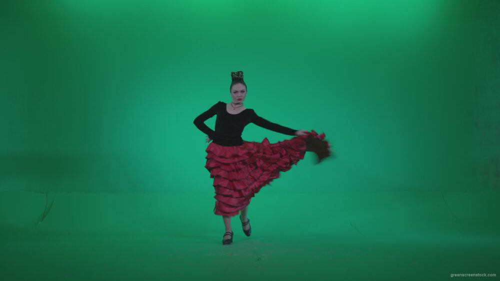 vj video background Flamenco-Red-and-Black-Dress-rb6-Green-Screen-Video-Footage_003