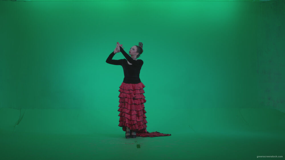 vj video background Flamenco-Red-and-Black-Dress-rb8-Green-Screen-Video-Footage_003