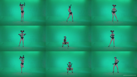 Go-go-Dancer-Latex-Mikki-x7-Green-Screen-Video-Footage Green Screen Stock