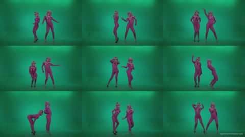 Go-go-Dancer-Pink-flowers-f1-Green-Screen-Video-Footage Green Screen Stock