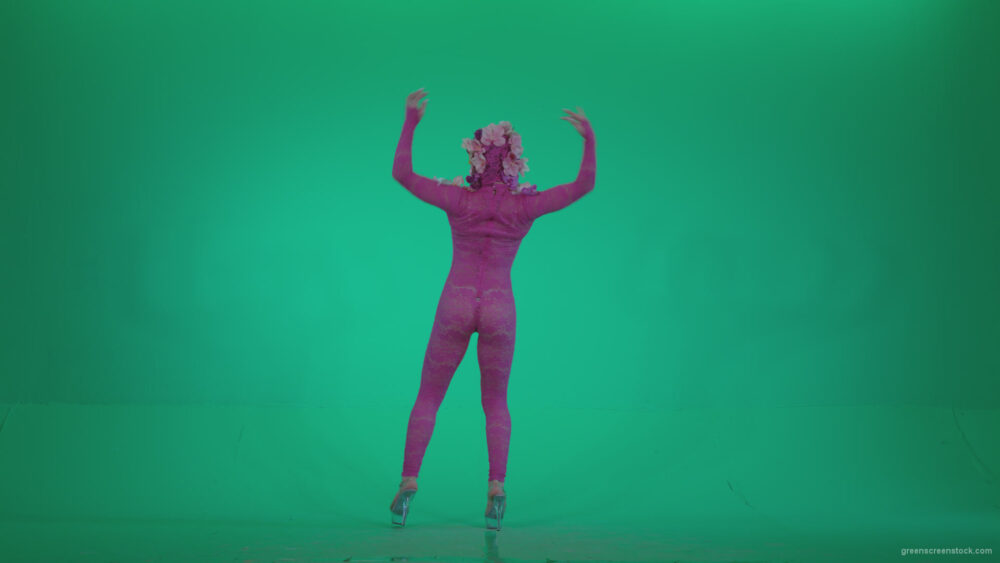 vj video background Go-go-Dancer-Pink-flowers-f4-Green-Screen-Video-Footage_003