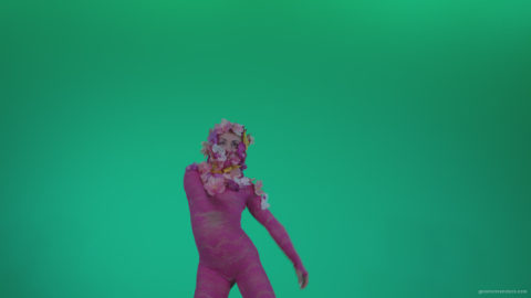 vj video background Go-go-Dancer-Pink-flowers-f5-Green-Screen-Video-Footage_003