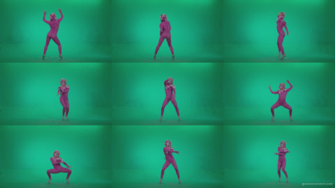 Go-go-Dancer-Pink-flowers-f6-Green-Screen-Video-Footage Green Screen Stock