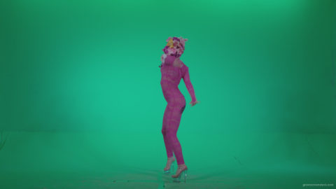 vj video background Go-go-Dancer-Pink-flowers-f6-Green-Screen-Video-Footage_003