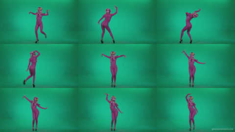 Go-go-Dancer-Pink-flowers-f7-Green-Screen-Video-Footage Green Screen Stock