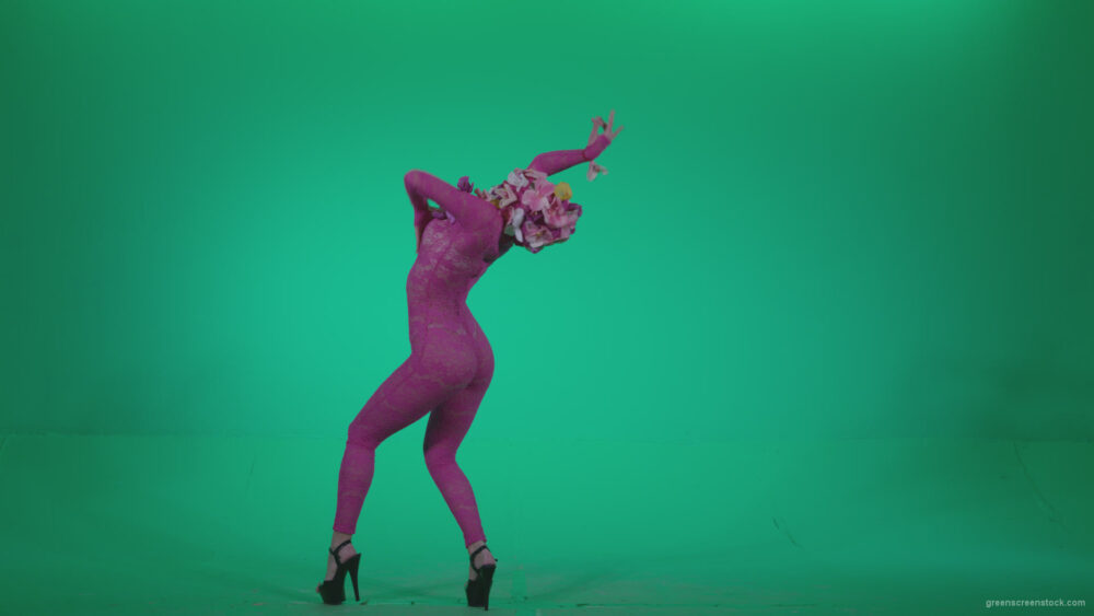 vj video background Go-go-Dancer-Pink-flowers-f7-Green-Screen-Video-Footage_003