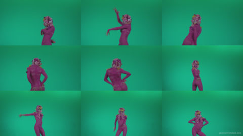 Go-go-Dancer-Pink-flowers-f8-Green-Screen-Video-Footage Green Screen Stock