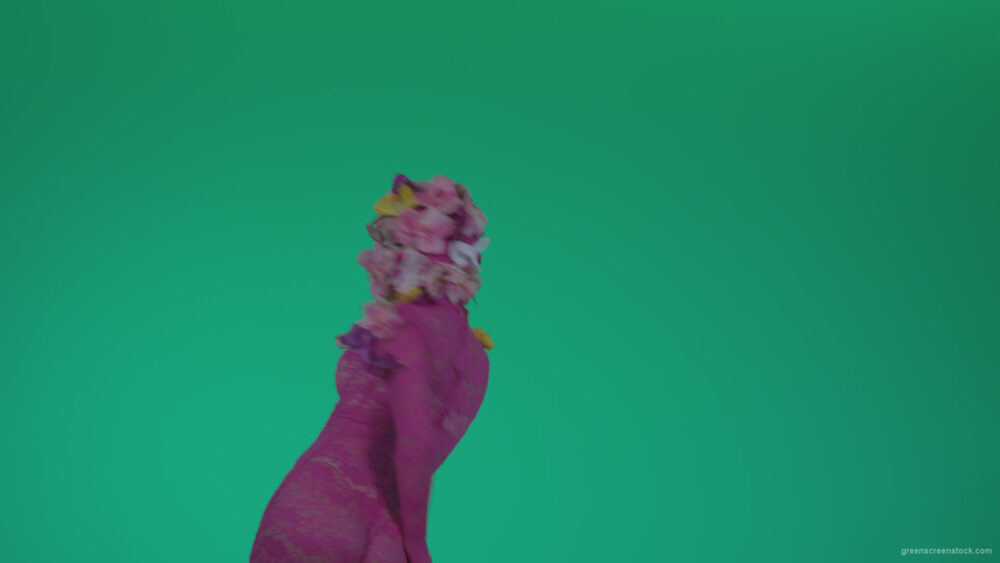 vj video background Go-go-Dancer-Pink-flowers-f8-Green-Screen-Video-Footage_003
