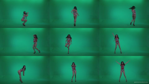 Go-go-Dancer-Red-Dress-r2-Green-Screen-Video-Footage Green Screen Stock