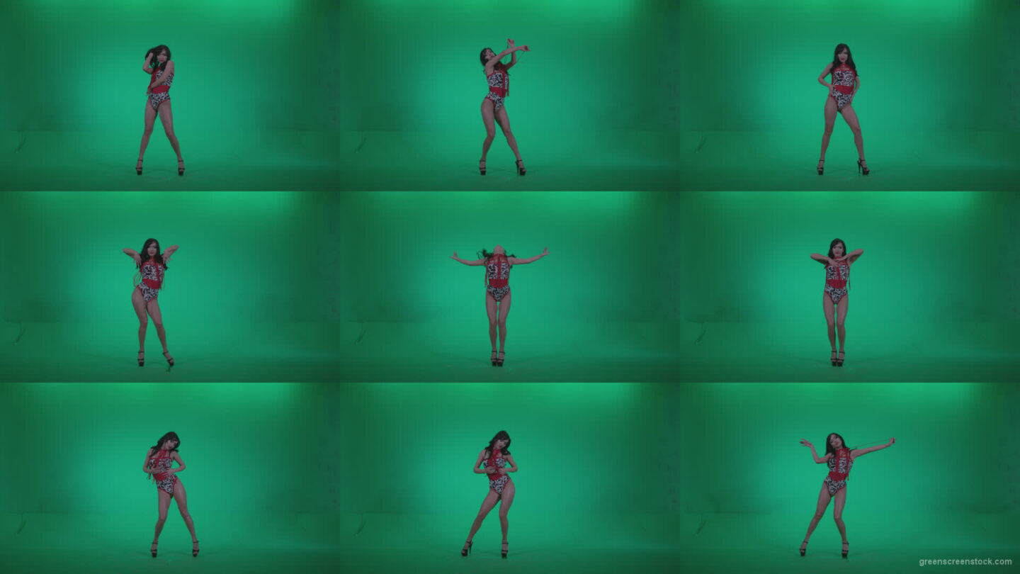 Go-go-Dancer-Red-Dress-r5-Green-Screen-Video-Footage Green Screen Stock