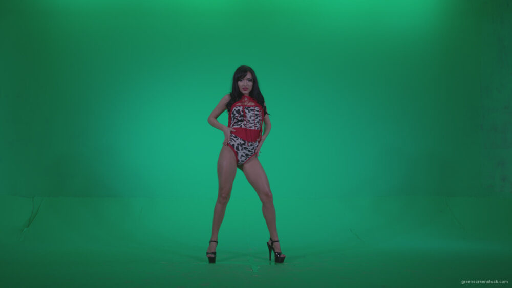 vj video background Go-go-Dancer-Red-Dress-r5-Green-Screen-Video-Footage_003