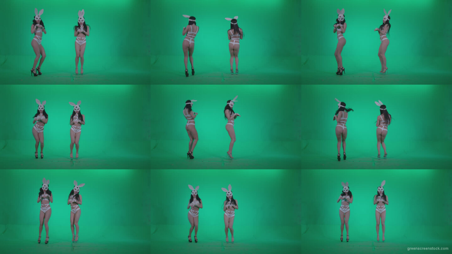 Go-go-Dancer-White-Rabbit-m2-Green-Screen-Video-Footage Green Screen Stock