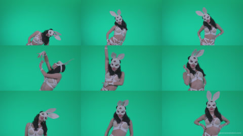 Go-go-Dancer-White-Rabbit-m8-Green-Screen-Video-Footage Green Screen Stock