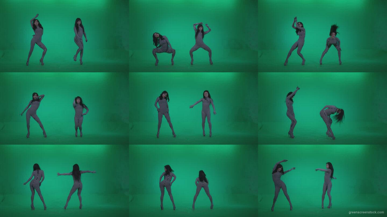 Go-go-Dancer-White-Stripes-s1-Green-Screen-Video-Footage Green Screen Stock