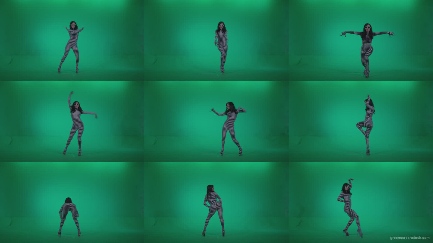 Go-go-Dancer-White-Stripes-s11-Green-Screen-Video-Footage Green Screen Stock