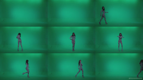 Go-go-Dancer-White-Stripes-s12-Green-Screen-Video-Footage Green Screen Stock