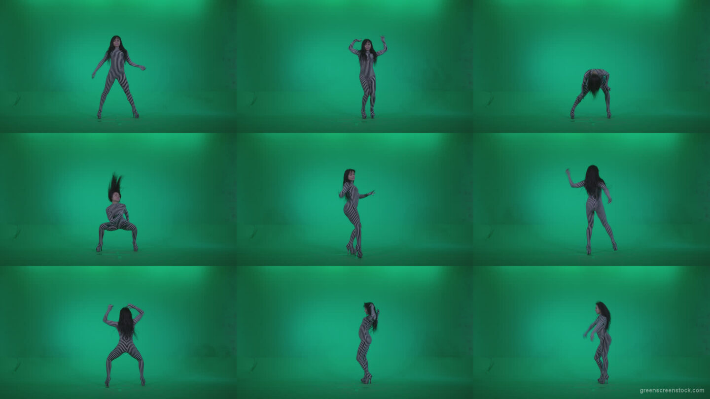Go-go-Dancer-White-Stripes-s2-Green-Screen-Video-Footage Green Screen Stock