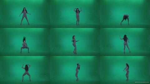 Go-go-Dancer-White-Stripes-s2-Green-Screen-Video-Footage Green Screen Stock