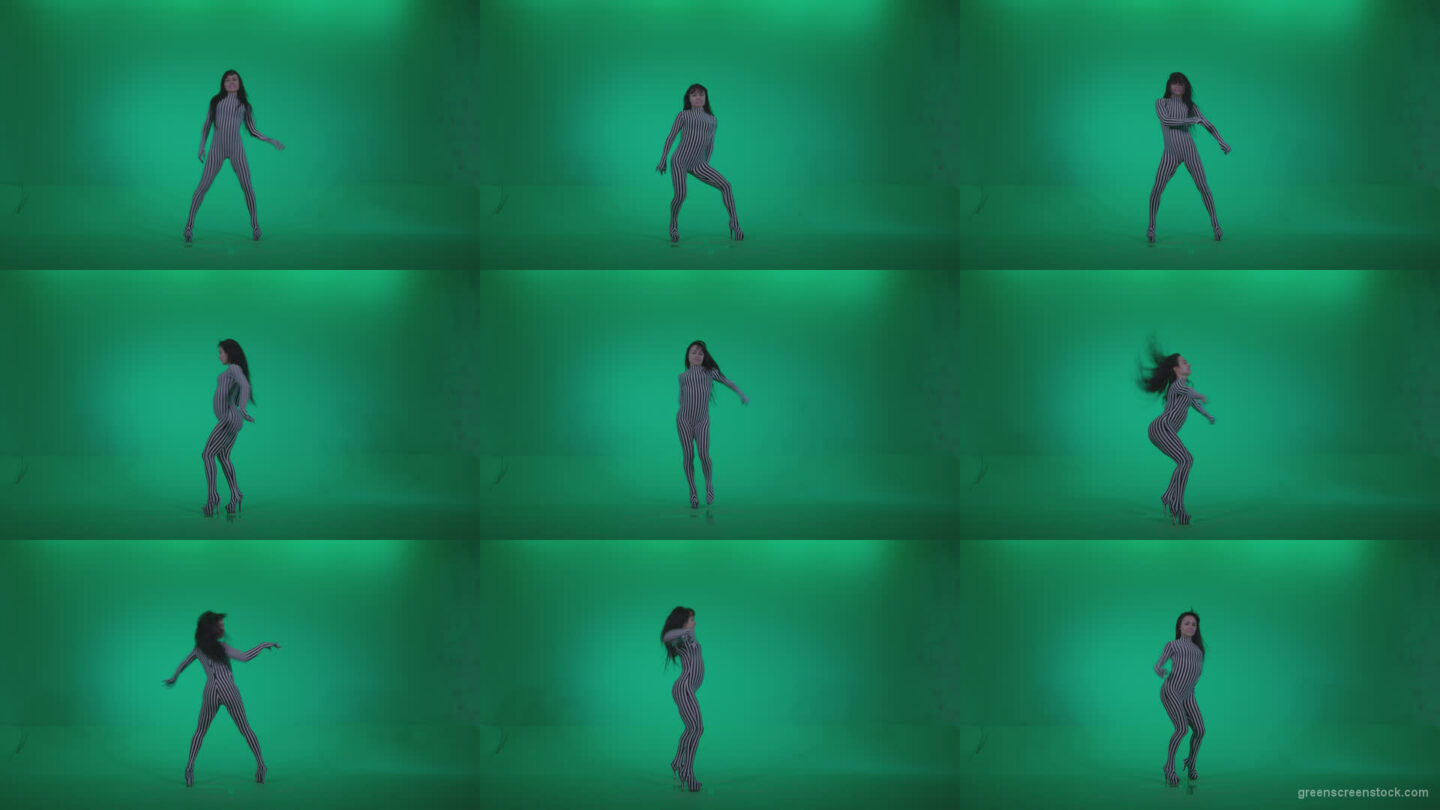 Go-go-Dancer-White-Stripes-s4-Green-Screen-Video-Footage Green Screen Stock