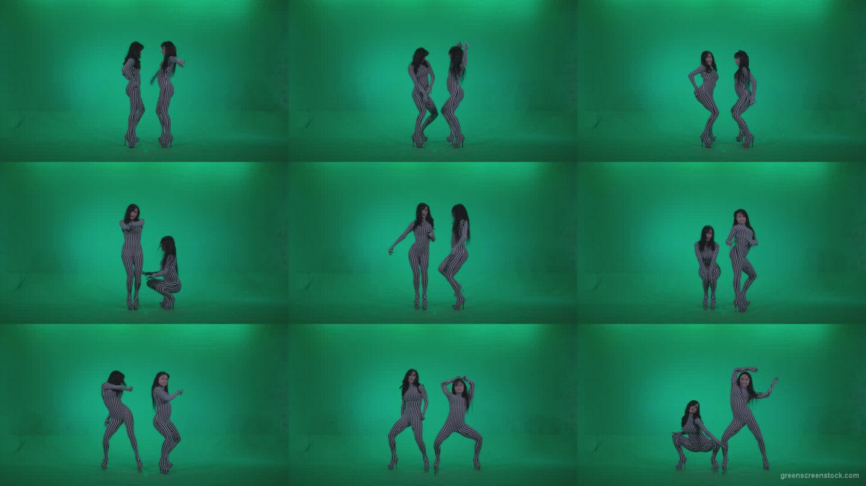 Go-go-Dancer-White-Stripes-s5-Green-Screen-Video-Footage Green Screen Stock
