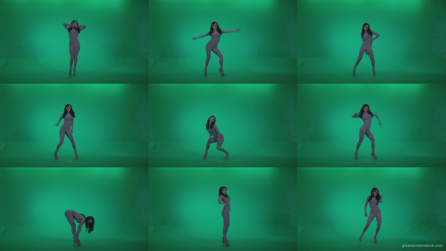 Go-go-Dancer-White-Stripes-s7-Green-Screen-Video-Footage Green Screen Stock