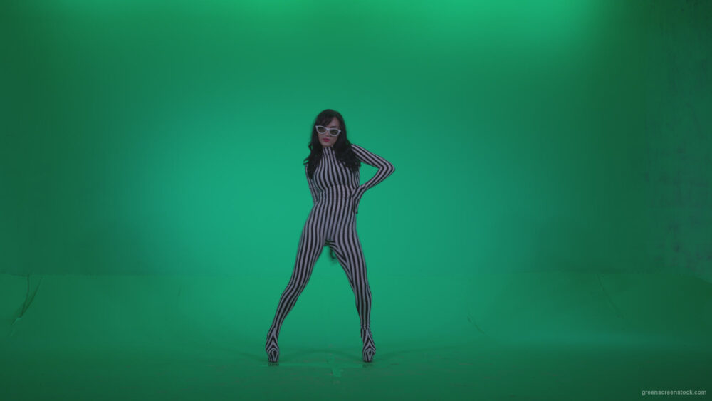 vj video background Go-go-Dancer-White-Stripes-s7-Green-Screen-Video-Footage_003