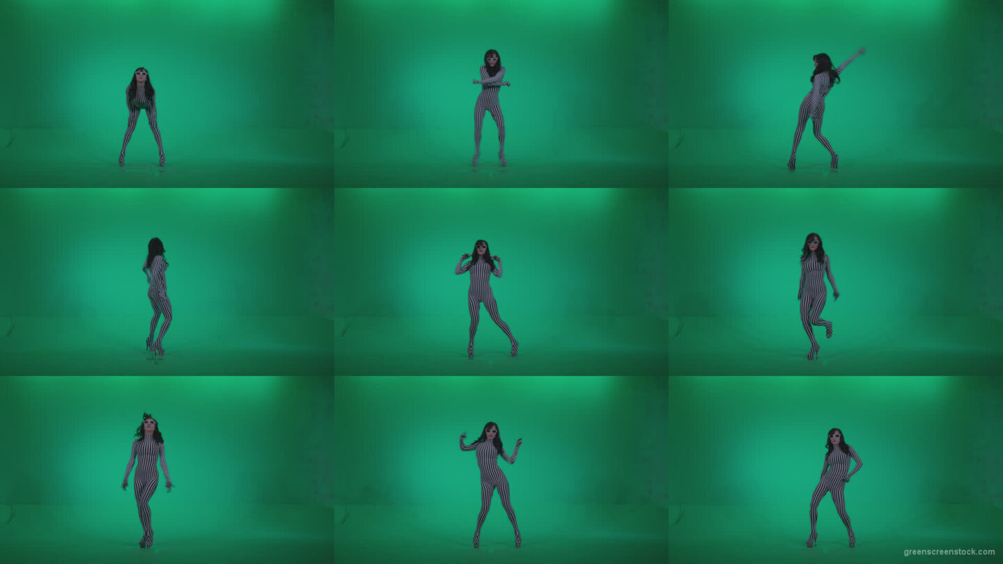 Go-go-Dancer-White-Stripes-s8-Green-Screen-Video-Footage Green Screen Stock