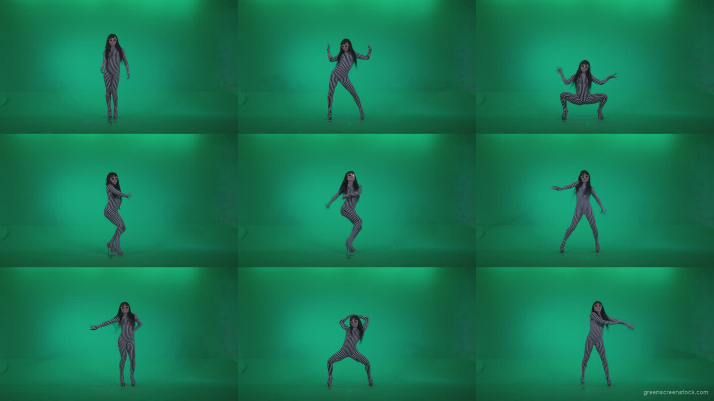 Go-go-Dancer-White-Stripes-s9-Green-Screen-Video-Footage Green Screen Stock